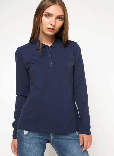 DeFacto Basic Uzun Kollu Polo T-shirt Lacivert
